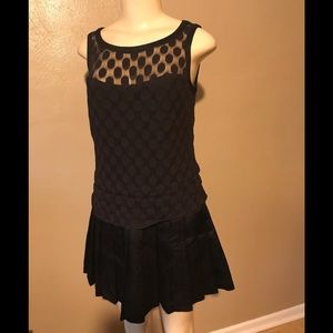 Ann Taylor polka dotted and pleated dress size OOP